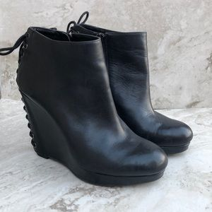 Gianni Bini Wedge Leather Ankle Boots